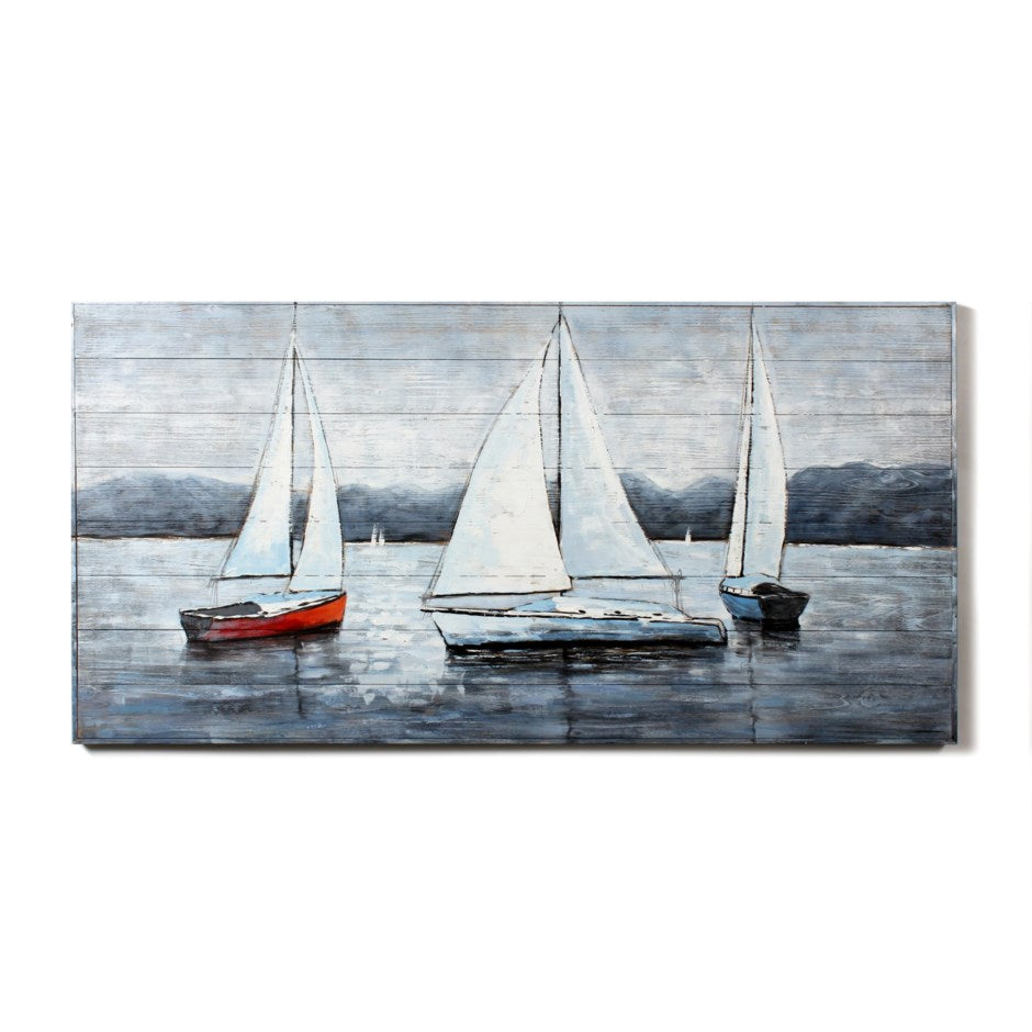3 Sailboats Painting On Wood