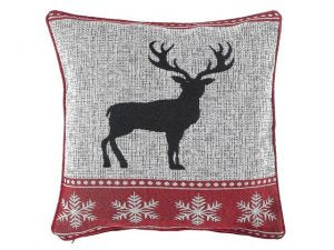 IHCASA - RED GRAY REINDEER PILLOW
