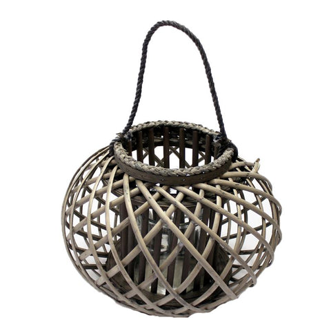 Large Willow Candle Lantern Round