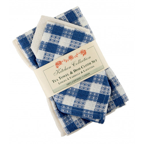 Torro Blue Tea Towel & Dish Cloth Set