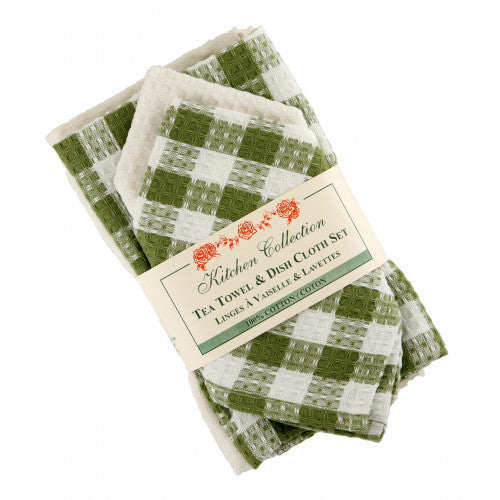 Torro Green Tea Towel & Dish Cloth Set