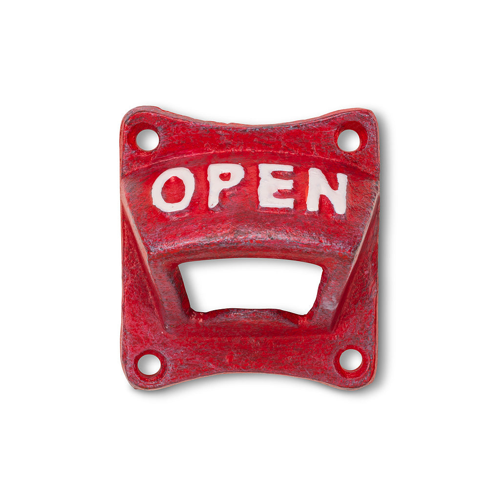 "ABBOTT - RED SQUARE ""OPEN"" BOTTLE OPENER"