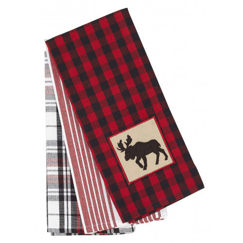 APEX - BUFFALO RED PLAID WITH MOOSE 3 PC TEA TOWEL SET