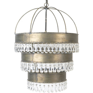 Metal with Crystals Ceiling Light