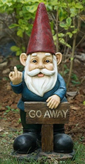 Gnome Holds Go Away Sign