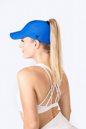 Blue Top Knot Cap