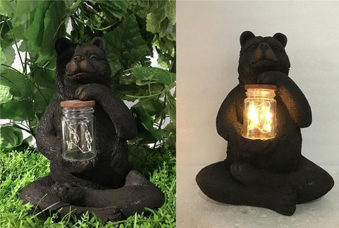 Bear Sitting with Fairy Lights