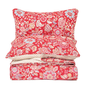 BRUNELLI - BERRY FLOWERED RED QUILT SET