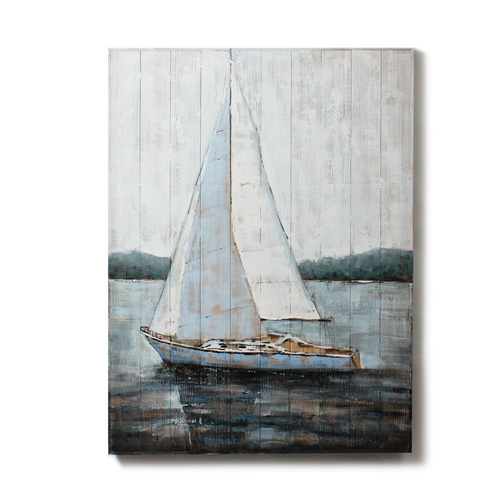 CJM - Blue Sailboat On Wood