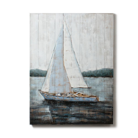 Blue Sailboat On Wood