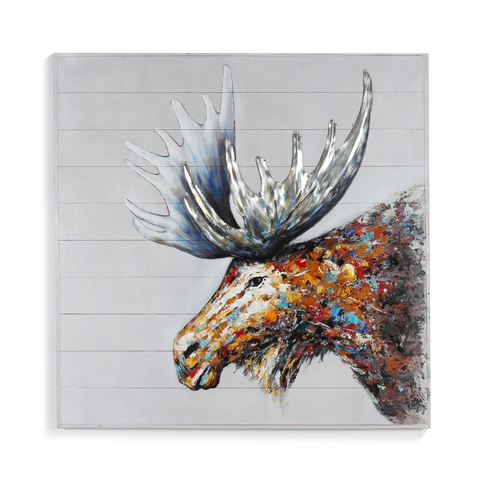 Colourful Moose Painting On Wood