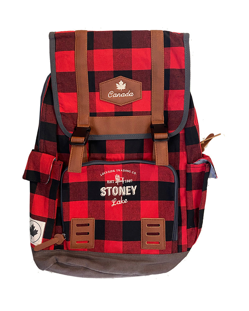 GGS - RED CHECK BACKPACK W STONEY LAKE