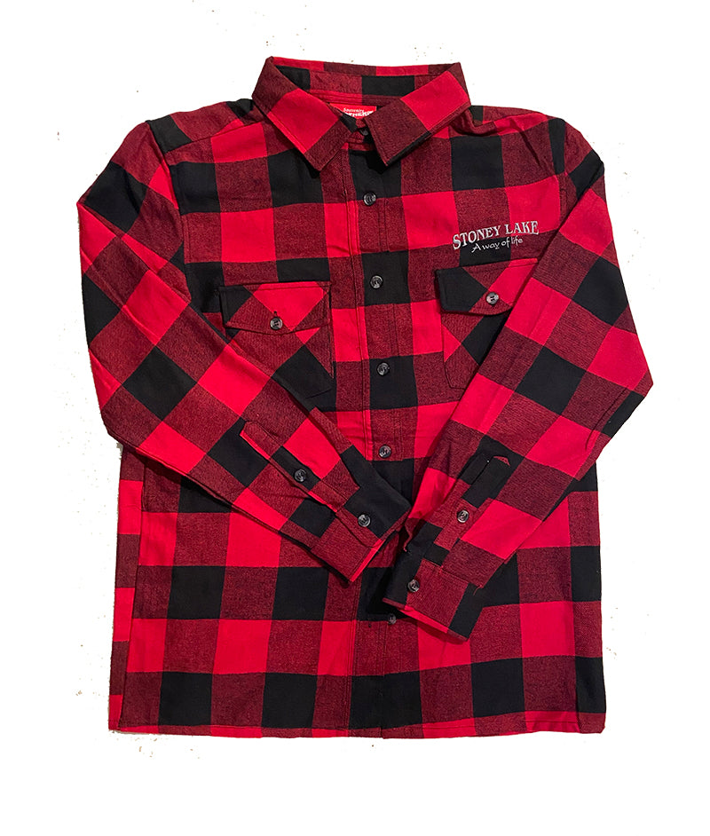 NORTHERN S FLANNEL RED BLK CHECK MENS SHIRT