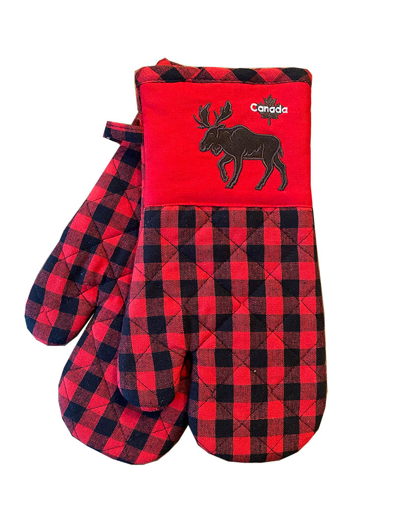 APEX - RED CHECK W/ MOOSE OVEN MITT