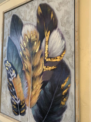CJM - COLOURFUL FEATHER ON WOOD HAND PAINTED