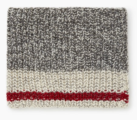 GERTEX SCARF SOCK KNIT LIGHT GREY WITH RED STRIPE