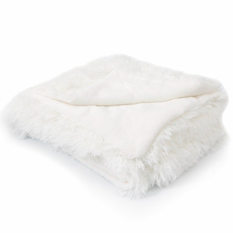 Luxurious White Faux Fur Throw