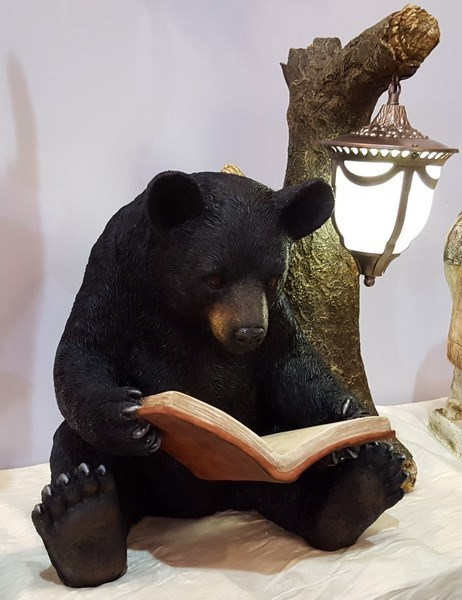 Black Bear Reading by Tree Trunk Outdoor Lamp