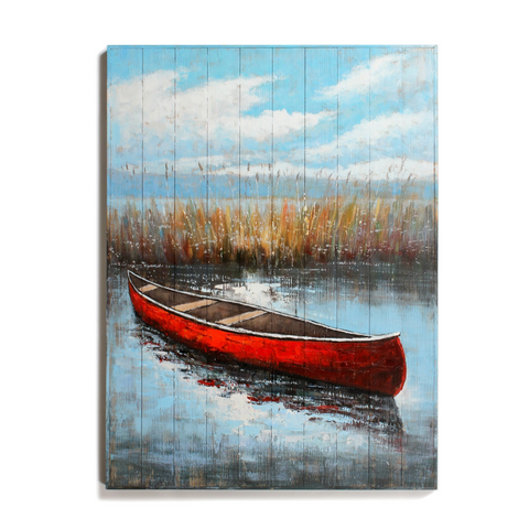 Red Canoe On Lake Painting On Wood