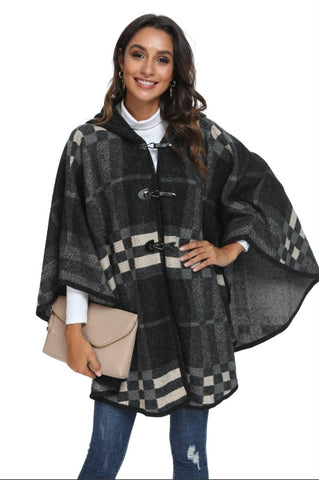 WELLCO - PLAID CAPE WITH HOODIE