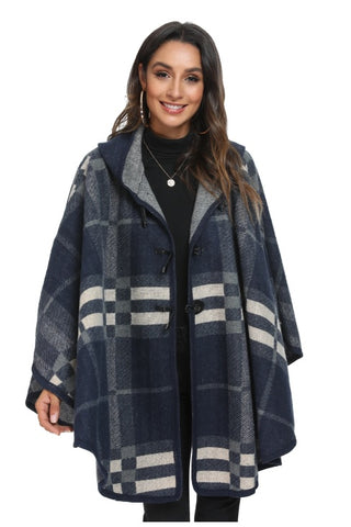 WELLCO - BLUE PLAID CAPE WITH HOODIE