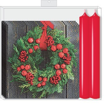 OCD - WREATH W/ RED CANDLE GIFT SET