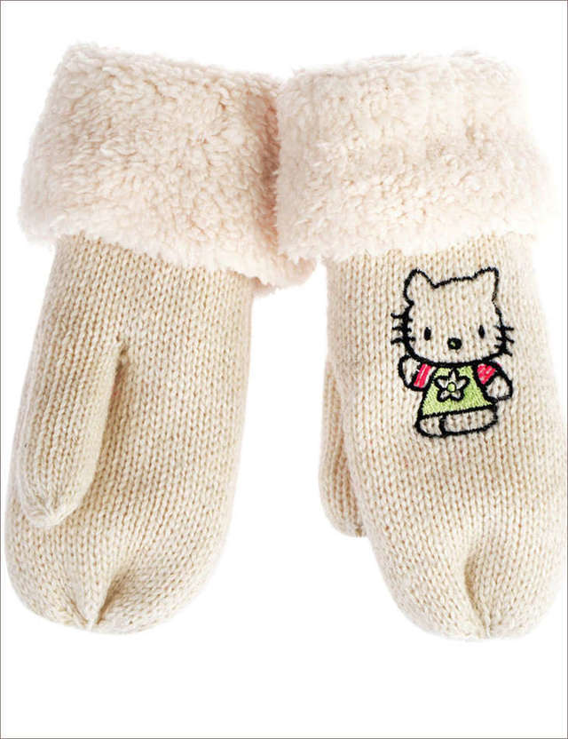 WELLCO - KIDS WHITE MITTS WITH HELLO KITTY