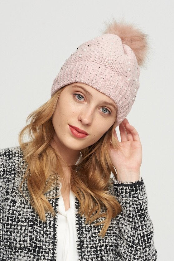 WELLCO - PINK TOQUE WITH PEARLS