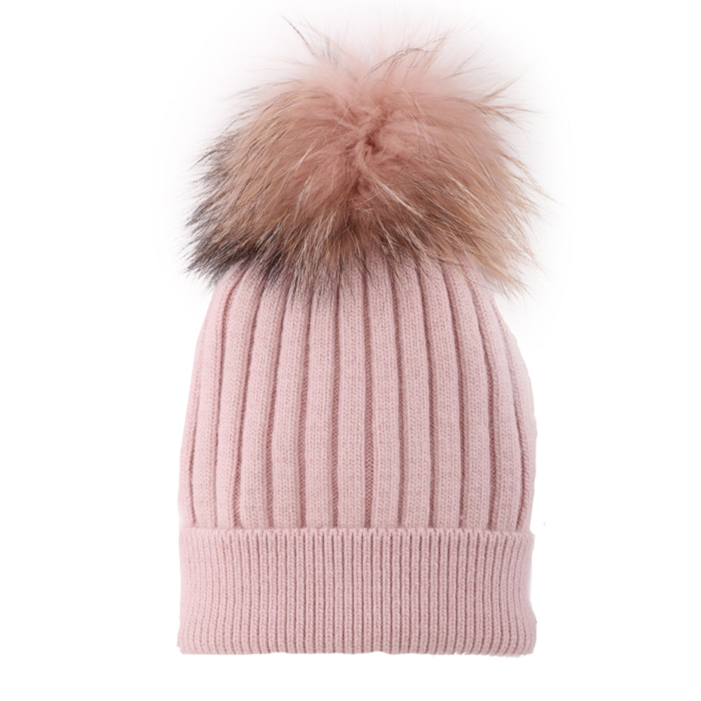 SIMI - LADIES BLUSH TOQUE WITH REAL FUR POMPOM
