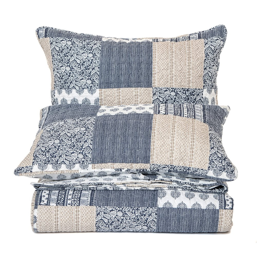 BRUNELLI - REMI NAVY AND BEIGE QUILT SET