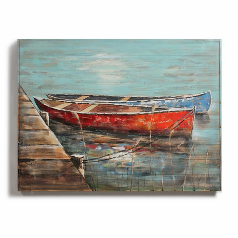 2 Boats Painting On Wood