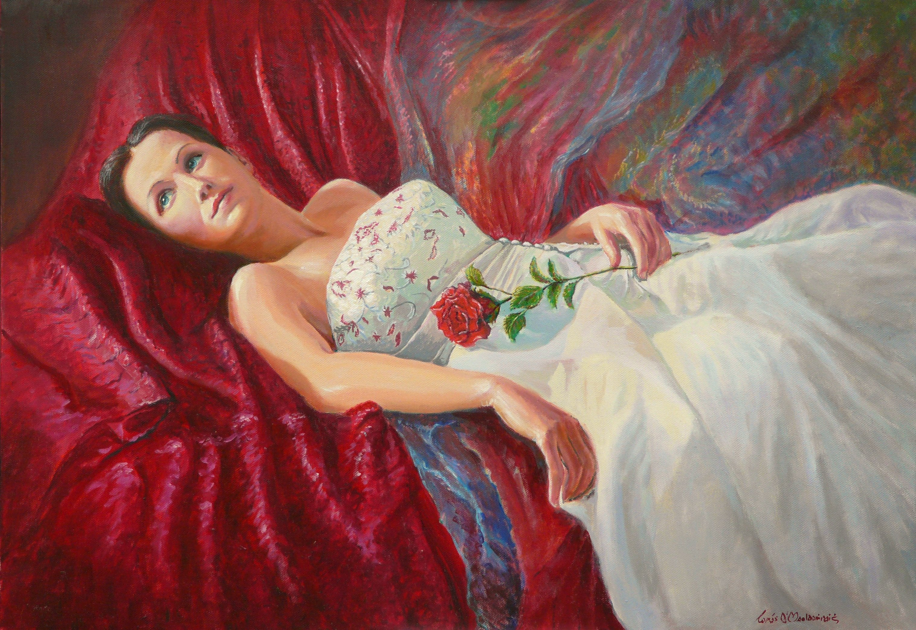 Crimson Rose oils 70 x 50 cm