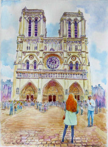 'Galway Girl Notre Dame, Paris' watercolour 30 x 40cm