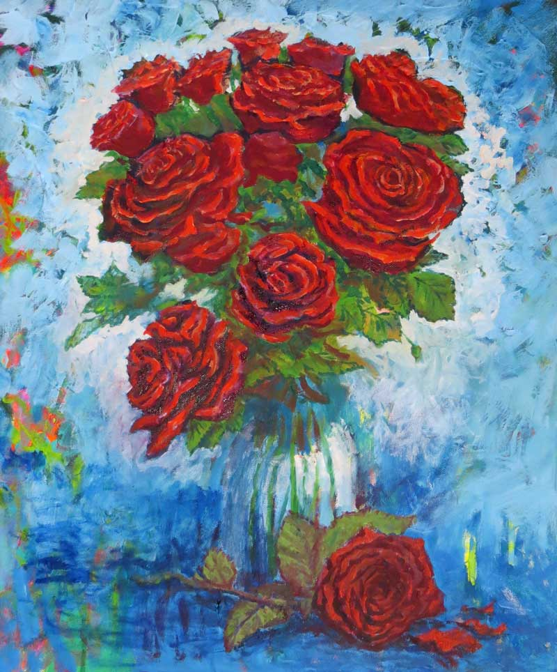 'Red Roses in Vase' oils on Canvas,  46 x 61 cm,