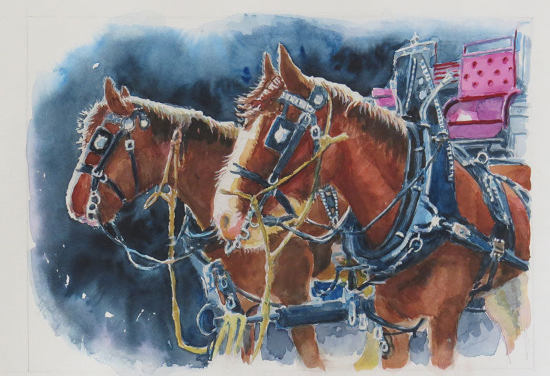 Tim  & Bruno Shires watercolour  40 x 30cm