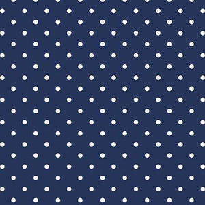 Swiss Dot White on Navy, Designer Fabric, Riley Blake Designs, [variant_title] - Mad About Patchwork
