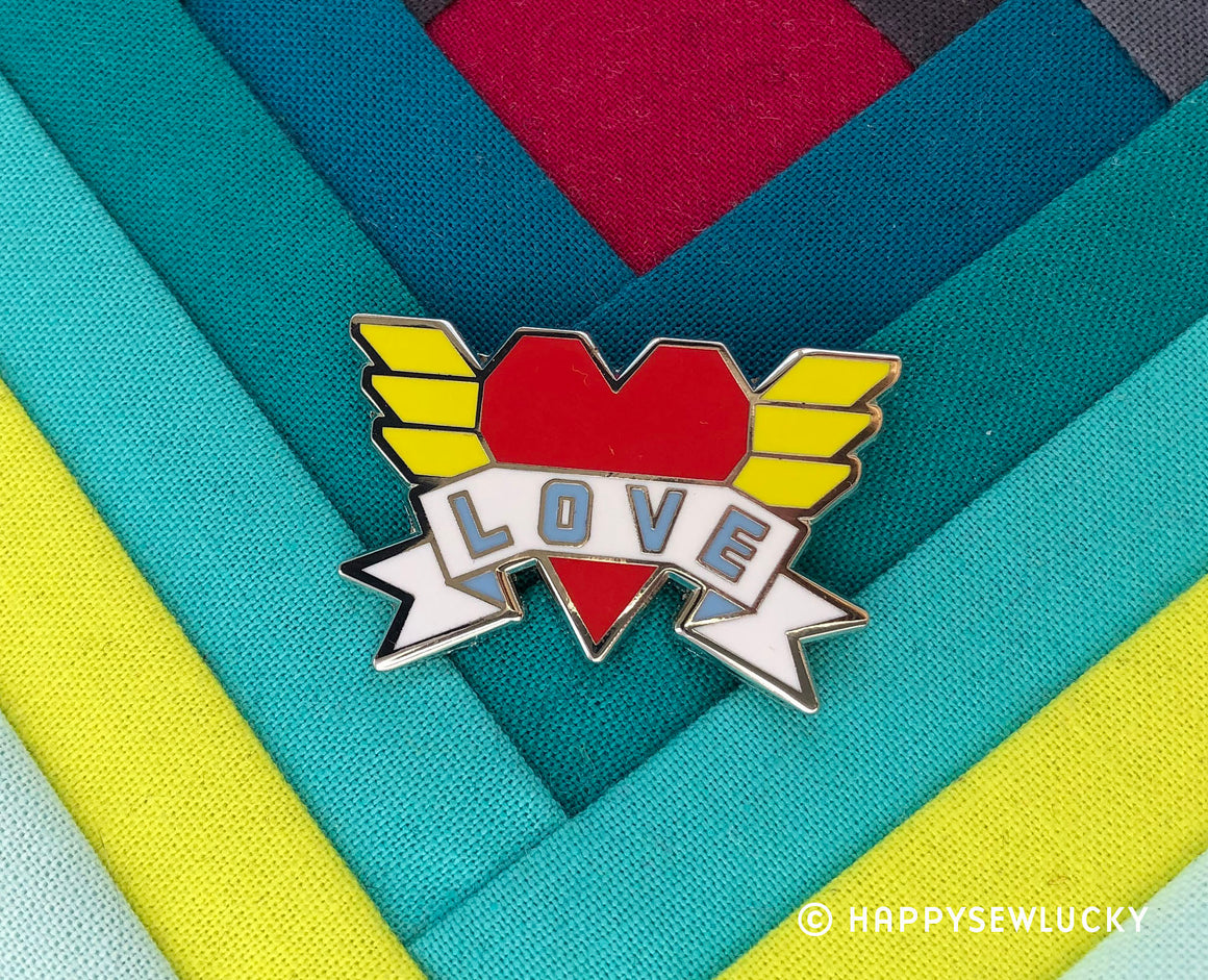 Love Enamel Pin, Fun Stuff, Happy Sew Lucky, [variant_title] - Mad About Patchwork
