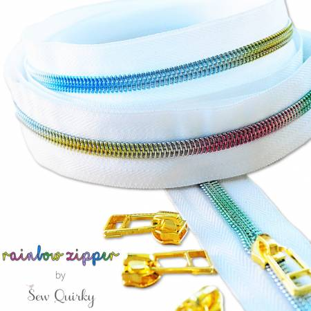 White Rainbow Zipper by Sew Quirky, notion, Decorating Diva, [variant_title] - Mad About Patchwork