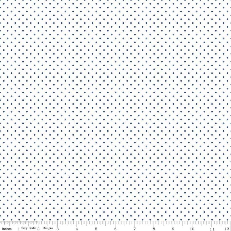 Swiss Dot Denim on White, Designer Fabric, Riley Blake Designs, [variant_title] - Mad About Patchwork