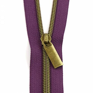 Zippers by the Yard — Sallie Tomato, Zipper, Sallie Tomato, Purple / Antique Brass - Mad About Patchwork