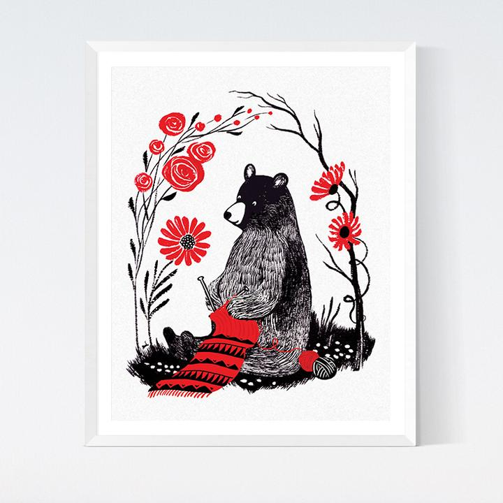 Bear Knit Art Print, Fun Stuff, CraftedMoon, [variant_title] - Mad About Patchwork