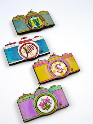 Retro camera embroidery pendant or needle minder kit, Fun Stuff, Mad About Patchwork, [variant_title] - Mad About Patchwork