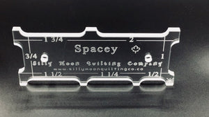 "Spacey - 1/4"" or 1/8"" Thick Clear Acrylic Ruler for Domestic Machine Quilting, Notion, Silly Moon Quilt Rulers, [variant_title] - Mad About Patchwork"