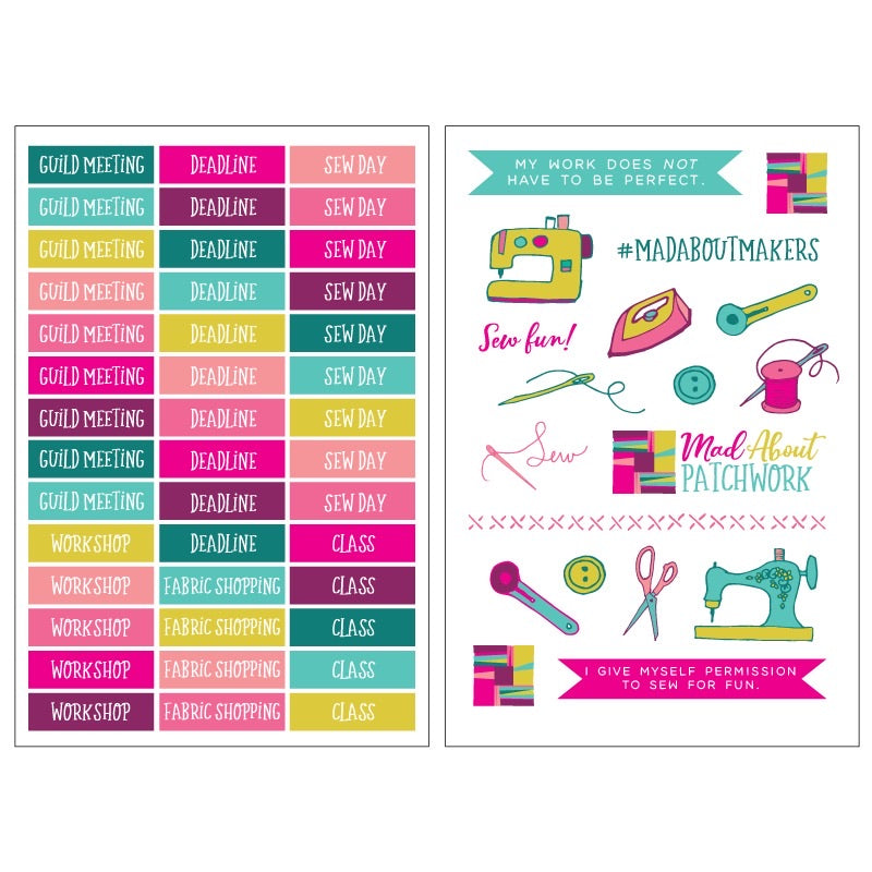 Quilting Planner stickers, Notions, Mad About Patchwork, [variant_title] - Mad About Patchwork
