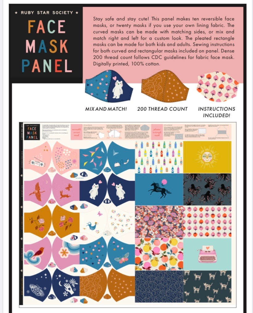 PRE - ORDER Ruby Star Face Masks (Sept Arrival), Designer Fabric, Ruby Star Society, [variant_title] - Mad About Patchwork