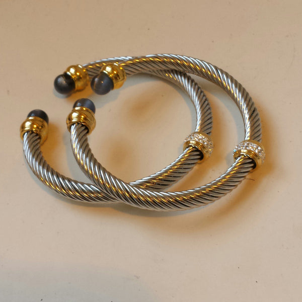 Twirl Bangle in Two Tone