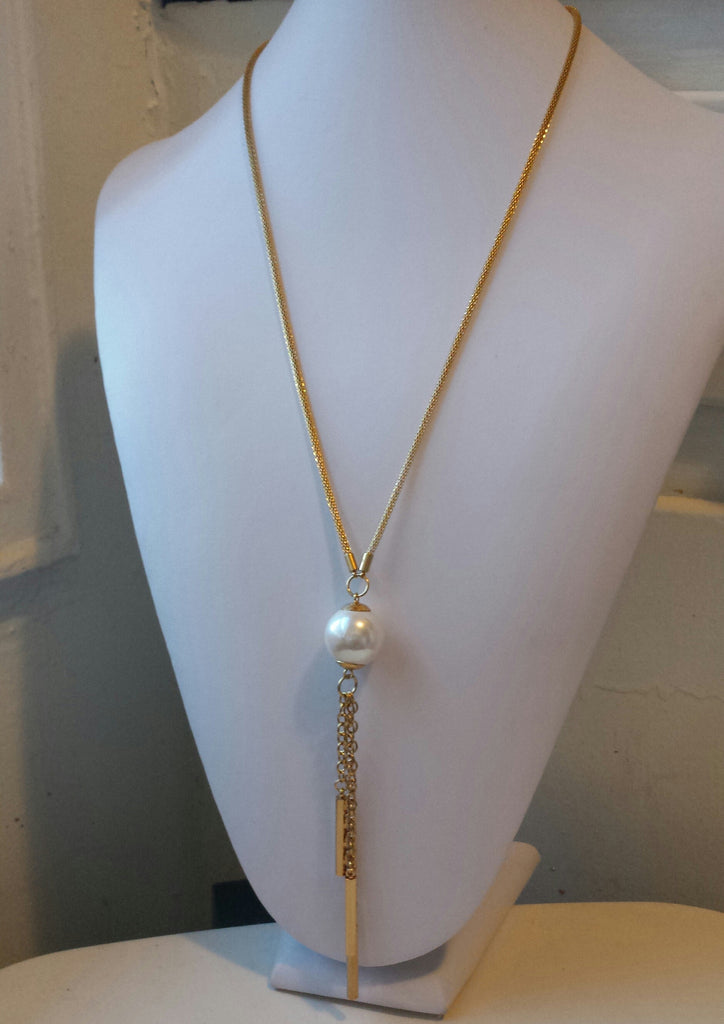 Long Necklace with Pearl Tassels