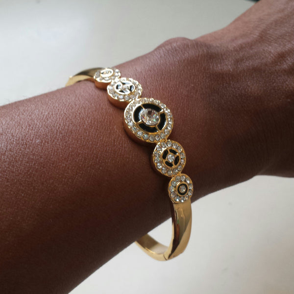 Cubic Zirconia Gold Bangle