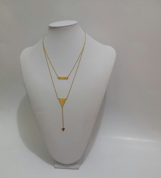 Layered Necklace with rectangle Charms