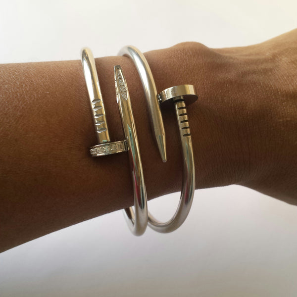 Nail Bangle in Gold and Silver